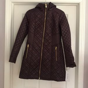 Via Spiga Lightweight Puffer Coat Jacket Purple